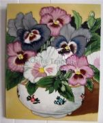 Hand Crafted Ceramic Art Tile Pansy Bowl